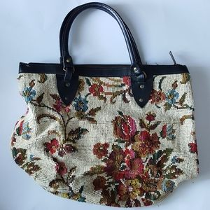 Handmade Floral stiched tapestry tote cottage core